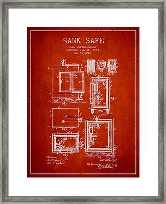 1894 Bank Safe Patent - Red Framed Print by Aged Pixel