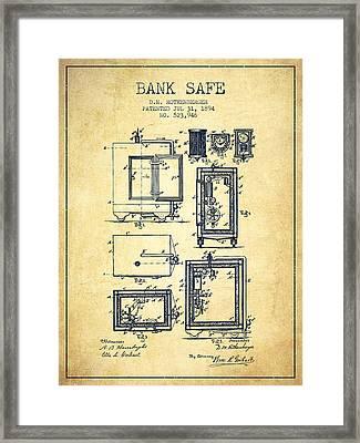 1894 Bank Safe Patent - Vintage Framed Print by Aged Pixel