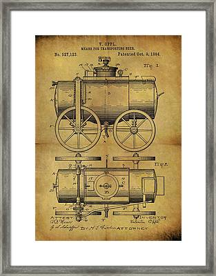 1894 Beer Wagon Patent Framed Print