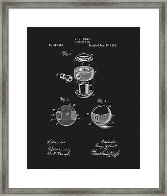 1894 Billiards Ball Patent Framed Print