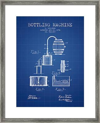 1894 Bottling Machine Patent - Blueprint Framed Print by Aged Pixel