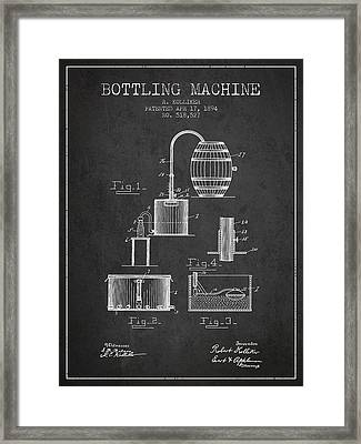 1894 Bottling Machine Patent - Charcoal Framed Print by Aged Pixel