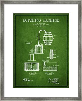 1894 Bottling Machine Patent - Green Framed Print by Aged Pixel
