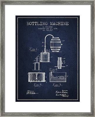 1894 Bottling Machine Patent - Navy Blue Framed Print by Aged Pixel