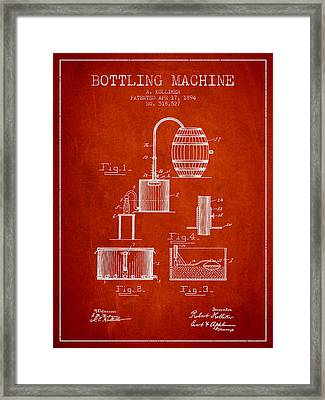 1894 Bottling Machine Patent - Red Framed Print by Aged Pixel