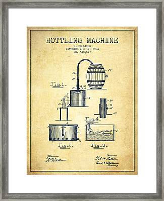 1894 Bottling Machine Patent - Vintage Framed Print by Aged Pixel