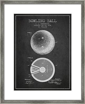 1894 Bowling Ball Patent - Charcoal Framed Print by Aged Pixel