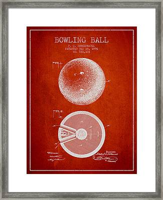 1894 Bowling Ball Patent - Red Framed Print by Aged Pixel