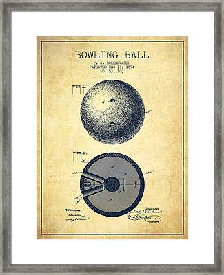 1894 Bowling Ball Patent - Vintage Framed Print by Aged Pixel