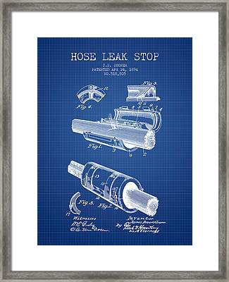 1894 Hose Leak Stop Patent - Blueprint Framed Print by Aged Pixel