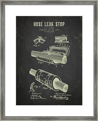 1894 Hose Leak Stop Patent- Dark Grunge Framed Print