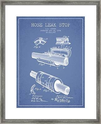 1894 Hose Leak Stop Patent - Light Blue Framed Print by Aged Pixel