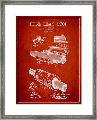 1894 Hose Leak Stop Patent - Red Framed Print by Aged Pixel