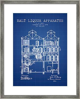1894 Malt Liquor Apparatus Patent - Blueprint Framed Print by Aged Pixel