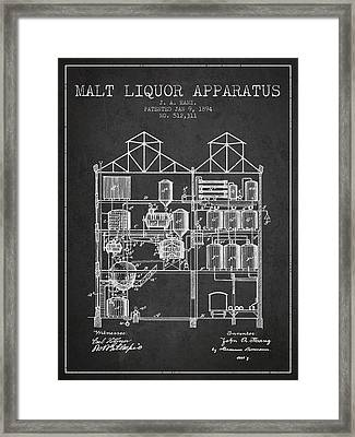 1894 Malt Liquor Apparatus Patent - Charcoal Framed Print by Aged Pixel