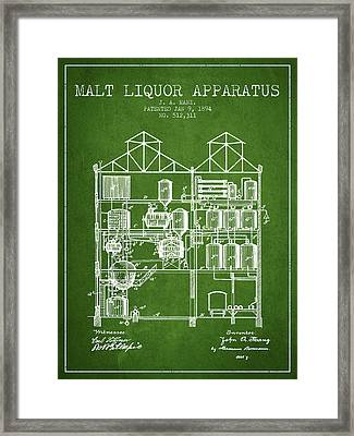 1894 Malt Liquor Apparatus Patent - Green Framed Print by Aged Pixel