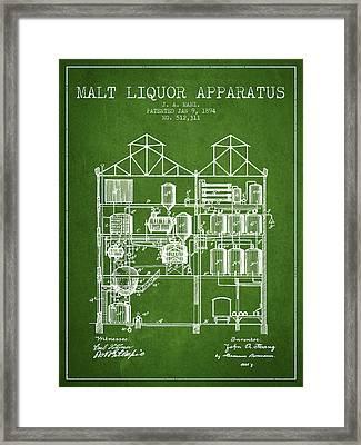 1894 Malt Liquor Apparatus Patent - Green Framed Print by Aged Pixel
