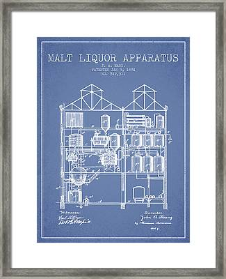 1894 Malt Liquor Apparatus Patent - Light Blue Framed Print by Aged Pixel