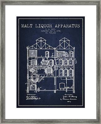 1894 Malt Liquor Apparatus Patent - Navy Blue Framed Print by Aged Pixel