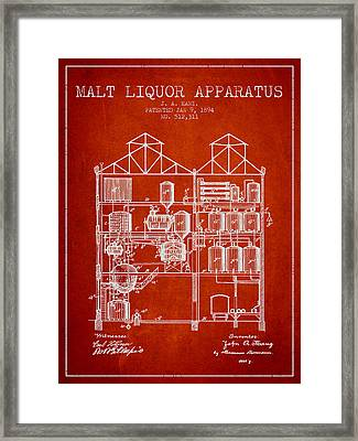 1894 Malt Liquor Apparatus Patent - Red Framed Print by Aged Pixel