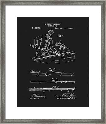 1894 Pool Cue Patent Framed Print by Dan Sproul