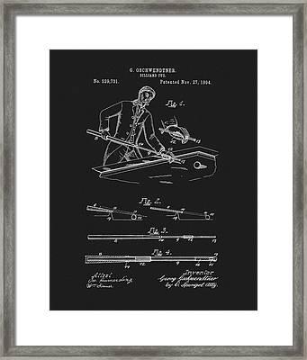 1894 Pool Cue Patent Framed Print