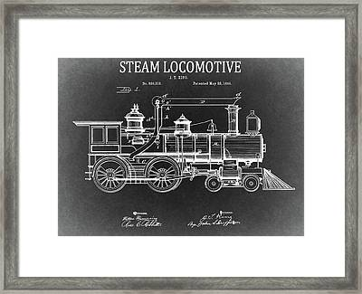 1894 Steam Locomotive Blueprint Framed Print by Dan Sproul