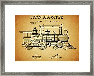 1894 Steam Locomotive Patent Framed Print by Dan Sproul