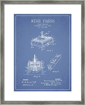 1894 Wine Press Patent - Light Blue Framed Print by Aged Pixel