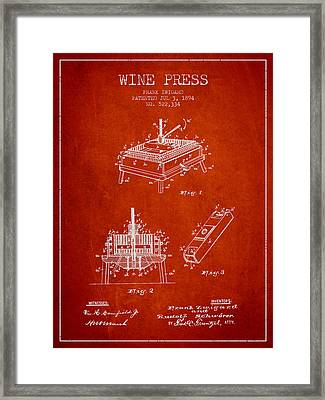 1894 Wine Press Patent - Red Framed Print by Aged Pixel