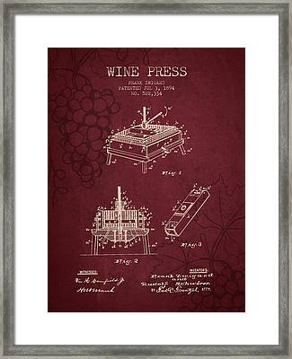 1894 Wine Press Patent - Red Wine Framed Print by Aged Pixel