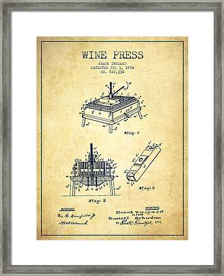 1894 Wine Press Patent - Vintage Framed Print by Aged Pixel