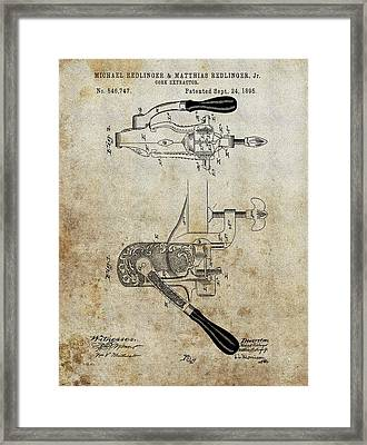 1895 Cork Extractor Patent Framed Print by Dan Sproul