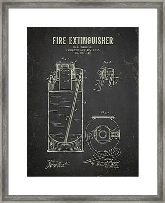 1895 Fire Extinguisher Patent - Dark Grunge Framed Print by Aged Pixel