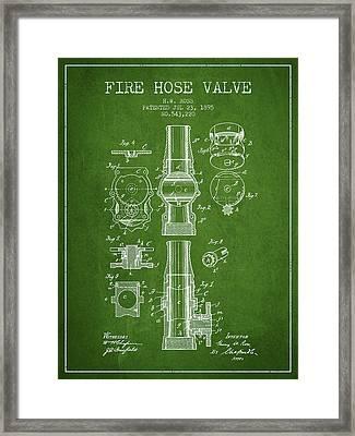 1895 Fire Hose Valve Patent - Green Framed Print