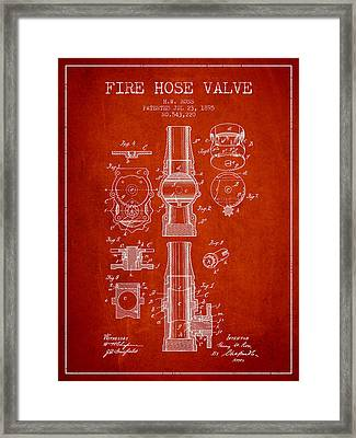 1895 Fire Hose Valve Patent - Red Framed Print by Aged Pixel