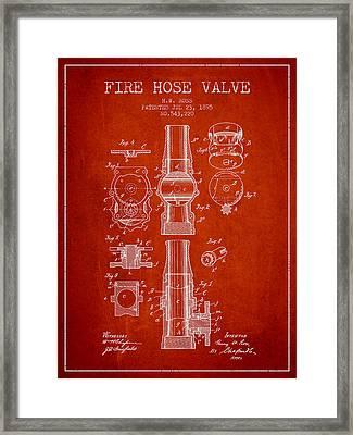 1895 Fire Hose Valve Patent - Red Framed Print