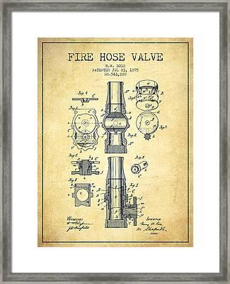 1895 Fire Hose Valve Patent - Vintage Framed Print