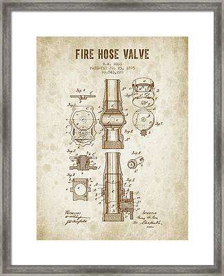 1895 Fire Hose Valve Patent - Vintage Brown Framed Print by Aged Pixel
