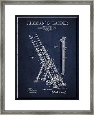 1895 Firemans Ladder Patent - Navy Blue Framed Print by Aged Pixel
