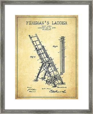 1895 Firemans Ladder Patent - Vintage Framed Print by Aged Pixel