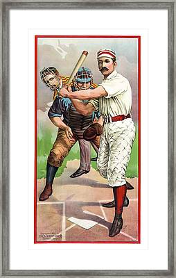 1895 In The Batters Box Framed Print by Daniel Hagerman