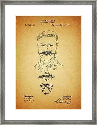 1895 Mustache Adjuster Patent Framed Print