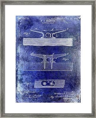 1895 Nautical Cleat Patent Blue Framed Print by Jon Neidert