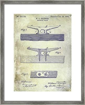 1895 Nautical Cleat Patent Framed Print by Jon Neidert