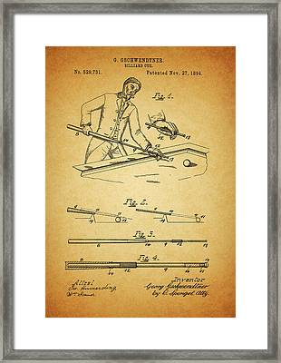 1894 Billiards Cue Patent Framed Print by Dan Sproul