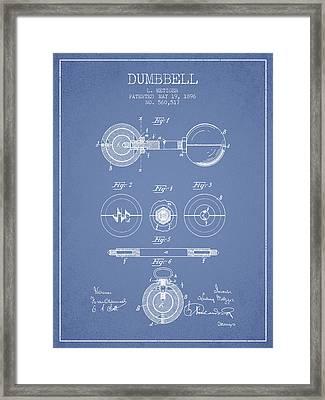 1896 Dumbbell Patent Spbb03_lb Framed Print by Aged Pixel