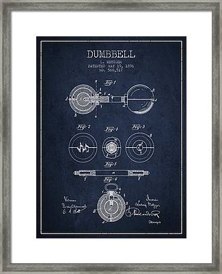 1896 Dumbbell Patent Spbb03_nb Framed Print by Aged Pixel