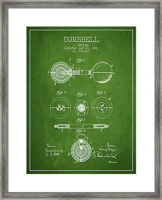 1896 Dumbbell Patent Spbb03_pg Framed Print by Aged Pixel