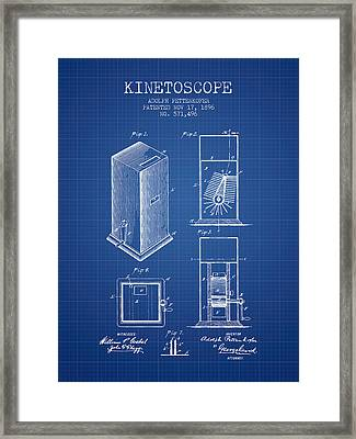 1896 Kinetoscope Patent - Blueprint Framed Print by Aged Pixel